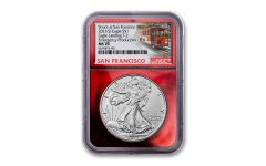 2021(S) $1 1-oz Silver Type 2 Eagle Struck At San Francisco Emergency Production NGC MS70 First Day of Issue w/Red Foil Core & Trolley Label