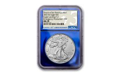 2021(S) $1 1-oz Silver Type 2 Eagle Struck At San Francisco Emergency Production NGC MS70 First Day of Issue w/Blue Foil Core & 35th Anniversary Label