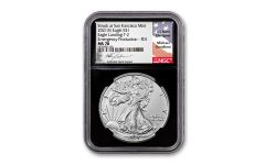 2021(S) $1 1-oz Silver Type 2 Eagle Struck At San Francisco Emergency Production NGC MS70 First Day of Issue w/Black Core, Flag Label & Gaudioso Signature