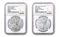 2021(S) $1 1-oz Type 1 & Type 2 Silver Eagle Struck At San Francisco Emergency Production 2-pc Set NGC MS69 w/Brown Labels