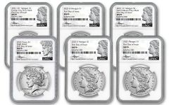 2021 Morgan & Peace Silver Dollar 6-pc Set NGC MS70 First Day of Issue w/Mercanti Signature