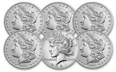 2021 Morgan & Peace Silver Dollar 6-pc Set