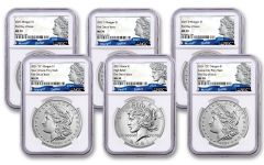 2021 Morgan & Peace Silver Dollar 6-pc Set NGC MS70 First Day of Issue w/100 Anniversary Labels
