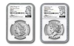 2pc 2021 $1 Silver Morgan P & Peace NGC MS70 First Day of Issue Mercanti Signature Label