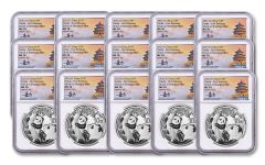 2021 China 30-gm Silver Panda NGC MS70 First Releases 3-pc Mint Set w/Tong Fang Signature 5-Pack