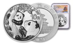 2021 China 30-gm Silver Panda NGC MS70 First Day of Issue Struck at Shenzhen Mint w/Signed Label