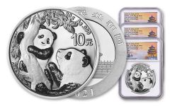 2021 China 30-gm Silver Panda NGC MS70 First Day of Issue Struck at Shenzhen Mint w/Signed Label 3-Pack