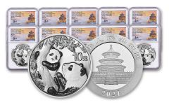2021 China 30-gm Silver Panda NGC MS70 First Day of Issue Struck at Shenzhen Mint w/Signed Label 10-Pack