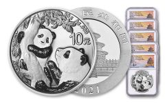 2021 China 30-gm Silver Panda NGC MS70 First Releases Struck at Shanghai Mint w/Signed Label 5-Pack