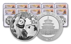2021 China 30-gm Silver Panda NGC MS70 First Releases Struck at Shanghai Mint w/Signed Label 10-Pack