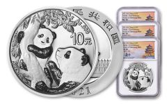 2021 China 30-gm Silver Panda NGC MS70 First Releases Struck at Shenyang Mint w/Signed Label 3-Pack