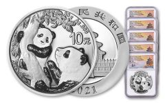 2021 China 30-gm Silver Panda NGC MS70 First Releases Struck at Shenyang Mint w/Signed Label 5-Pack