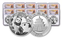 2021 China 30-gm Silver Panda NGC MS70 First Releases Struck at Shenyang Mint w/Signed Label 10-Pack
