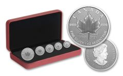 2021 Canada Silver Pulsating Maple Leaf Reverse Proof 5-Coin Set
