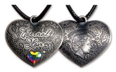 Solomon Islands $1 15-gm Silver Eternal Love Heart-Shaped Antiqued Coin