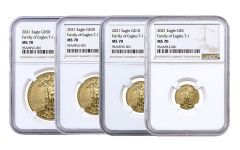 2021 $5–$50 Gold American Eagle NGC MS70 4-pc Set w/Brown Label