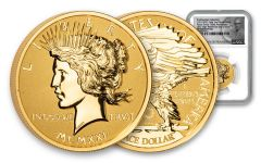 2021 Smithsonian 1-oz Gold Peace Dollar Ultra High Relief Reverse Proof NGC PF70UC First Day of Issue w/de Francisci Label