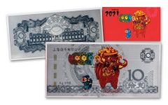 CHINA 2021 10G SILVER YEAR OF OX NOTE SHANGHAI