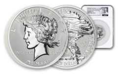 2021 Smithsonian 10-oz Silver Peace Dollar Ultra High Relief Reverse Proof NGC PF70UC First Day of Issue w/de Francisci Label
