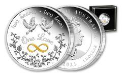 2021 Australia $1 1-oz Silver One Love Proof