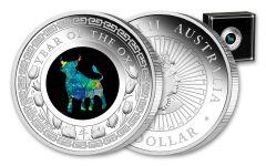 2021 Australia $1 1-oz Lunar Year of the Ox Opal Proof