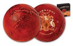 2021 Barbados $5 1-oz Silver Mars Sphere Antiqued Coin w/Red Spray Coloring