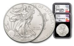 2021 $1 1-oz Silver American Eagle 2-pc Set NGC MS70 First Day of Issue w/Black Core & Mercanti/Jones Signed Labels