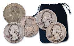 5PC 1932-1964 25 CENT WASHINGTON SILVER VG+