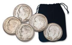 5PC BAG 1946-1964 10 CENT ROOSEVELT
