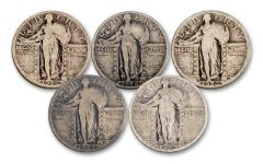 5PC 1916-1930 25 CENT STANDING LIBERTY 5 DIFF VG