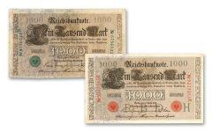 1910 1000 REICHSBANKNOTE GERMAN GREEN-RED SEAL SET