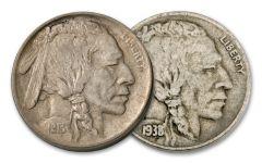 2PC 1913 AND 1938 BUFFALO NICKEL SET (5955FL-BN)