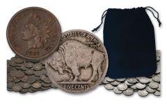 1864-1938 1 CENT - 5 CENT INDIAN-BUFFALO 1/2-OZ BAG W/ CIVIL WAR DATE
