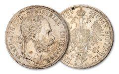 AUSTRIA 1857-1892 1 FLORIN SLV FRANZ JOSEPH I F-VF