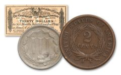 1865 Two Cents & Three-Cent Nickel 2-pc Set VF w/ CSA Bond