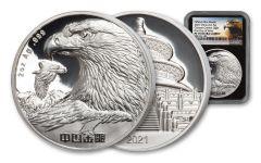2021  2oz Silver Golden Eagle NGC PF70 FDI (Golden Eagle Label)