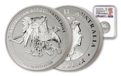 2021 Australia $1 1 oz Silver Wedge-Tailed Eagle High Relief Enhanced Reverse Proof NGC PF70UC First Day of Issue w/Mercanti Signature
