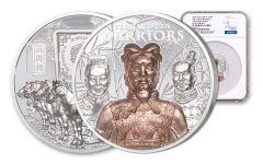 2021 Cook Islands Terracotta Warriors Ultra High Relief 3 oz Silver Gilt Proof $20 Coin NGC PF70 UC FR