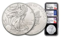 2021(P) $1 1-oz Silver Eagle Type 1 Struck At Philadelphia Emergency Production 3-pc Set NGC MS70 First Day of Issue w/ Black Cores & Mercanti/Jones/Moy Signed Labels