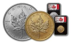 2021-W Canada Gold & Silver Maple Leaf Tailored Specimen 2-pc Set NGC SP70 First Day of Issue w/Black Cores & Taylor Signatures