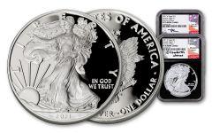 2PC 2021-W $1 1OZ SILVER EAGLE NGC PF70UC FDI MERCANTI/JONES BC