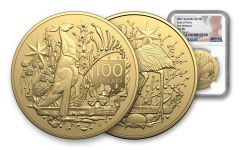 2021 Australia $100 1-oz Gold Coat of Arms NGC MS70 First Releases w/Flag label