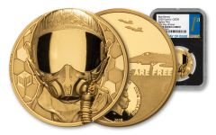 2020 Cook Islands $250 1-oz Gold Real Heroes – Fighter Pilot Ultra High Relief Proof NGC PF70 First Day of Issue