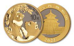2021 China 30-gm Silver Panda Golden Ring Ennobling Gem BU