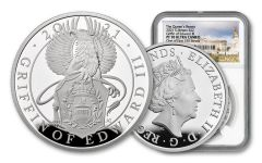 GB 2021 £2 1-oz Silver Queens Beast Griffin of Edward III NGC PF70UC FS