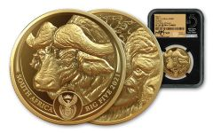 2021 South Africa 1-oz Gold Big 5 Buffalo NGC PF70UC First Day of Issue w/Black Core, Big 5 Label & Tumi Signature