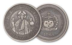 2021 Samoa 2 Tala 1-oz Silver Alpha & Omega Antiqued Coin Gem BU