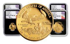 4PC 2021 $5-$50 GOLD EAGLE NGC PF70UC FDI MERCANTI BC