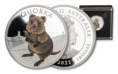 2021 Australia $1 1-oz Silver Quokka Colorized Proof