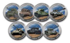 7PC COLD ENAMEL COLLECTION WWII TANKS UNC